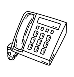 telephone icon doodle hand drawn or outline icon vector image