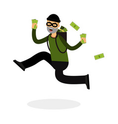 thief in a mask character running with a backpack vector image
