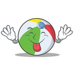 Tongue out ball character cartoon style vector