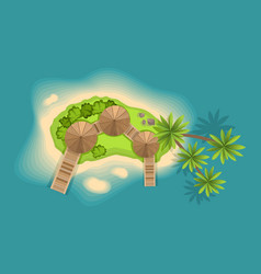 top view island view from a height on a tropical vector image