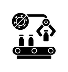 Vaccine manufacturer black glyph icon vector