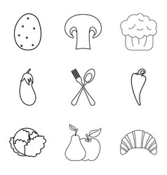 vegetable food icons set outline style vector image