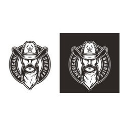 vintage monochrome wild west round emblem vector image