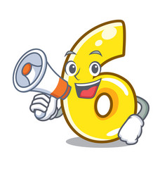 with megaphone character number six on brick wall vector image