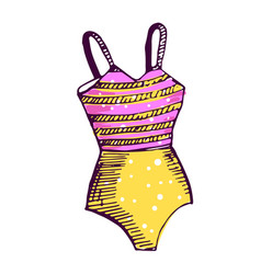 Woman fashionable swimwear color hand drawn vector