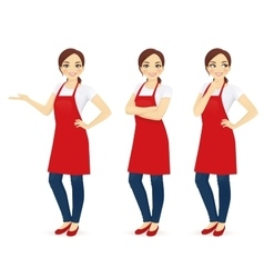 Woman in red apron vector