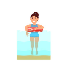 young girl swimming in the sea with inflatable vector image