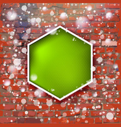 brick wall with bright green label and fall of vector image vector image