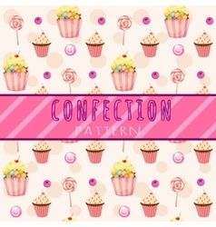 Cakes pattern on a pink background vector image