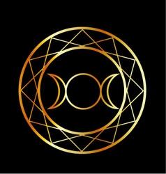 Gold Wiccan symbol Triple Goddess vector image