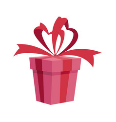 party gift box with ribbon and bow vector image