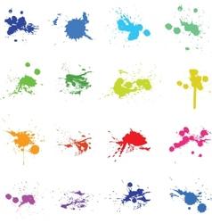 Set of color ink paint splat vector image vector image