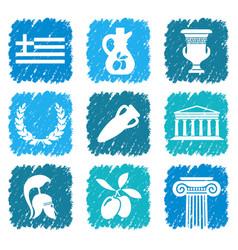 symbols of greece vector image