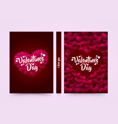 pink hearted background with a valentine day title vector image
