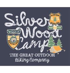 Silver wood camp hiking company vector image vector image