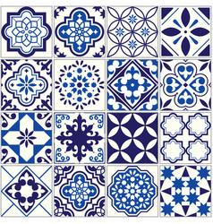 Tile pattern lisbon floral mosaic vector
