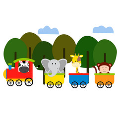 cute animal on train vector image