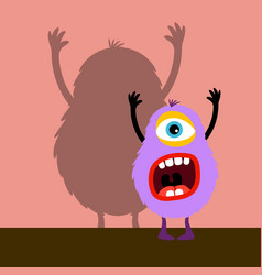 cyclops violet monster with shadow vector image vector image