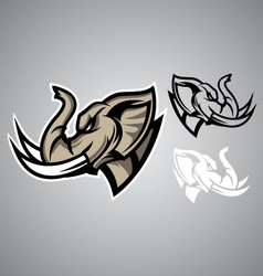 elephant head linethai emblem logo vector image vector image