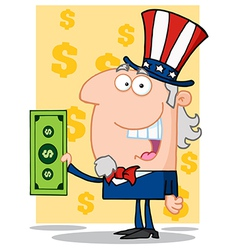 Happy Uncle Sam With Holding A Dollar Bill vector image