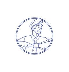 Security Guard Flashlight Circle Mono Line vector image vector image