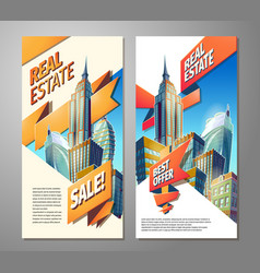 set of advertising posters for sale of real estate vector image vector image