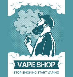 hipster holding electronic cigarette he smoking vector image vector image