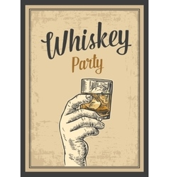 Male hand holding a glass with whiskey and ice vector image vector image