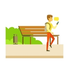 Man Texting With Smartphone While Walking Part Of vector image