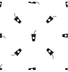 paper cup with straw pattern seamless black vector image vector image