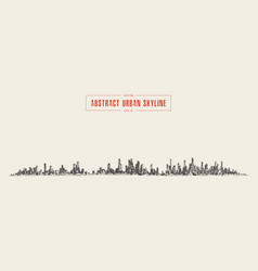 abstract big city skyline urban linear vector image