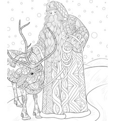 adult coloring bookpage a santa claus with a vector image
