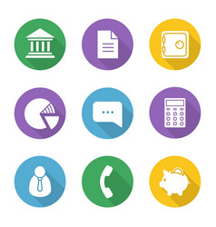 Banking and finance flat design long shadow icons vector