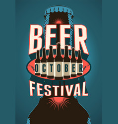 beer festival vintage poster with a beer bottles vector image