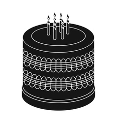 Bicolor cake icon in black style isolated on white vector image