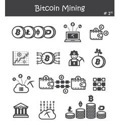 bitcoin mining icon set 1 vector image