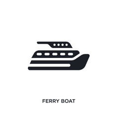 Black ferry boat isolated icon simple element vector