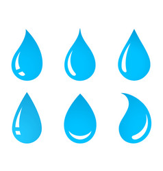 blue abstract water droplet with reflection set vector image