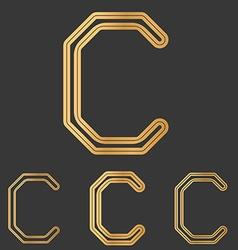Bronze line c logo design set vector image