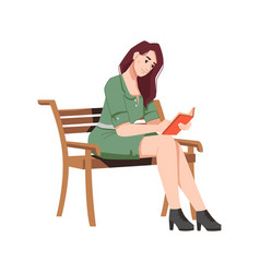Brunette woman on wooden bench reads book outdoors vector