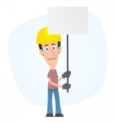 builder holds over a banner vector image