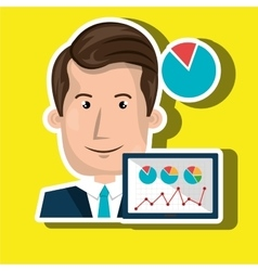 businessperson with statistic graph isolated icon vector image