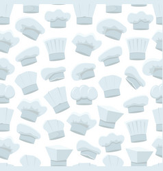cartoon chef white hats background pattern vector image