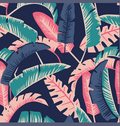 cartoon palm leaves seamless dark blue background vector image