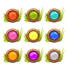 Cartoon round buttons set vector