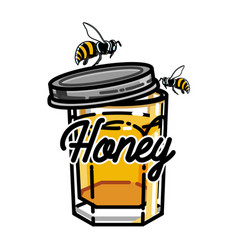 color vintage honey emblem vector image