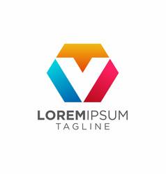 Colorful modern and trendy letter v logo design vector