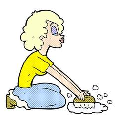 comic cartoon woman scrubbing floor vector image