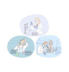 coronavirus medical research and virus analysis in vector image