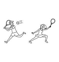 couple playing tennis avatar character vector image
